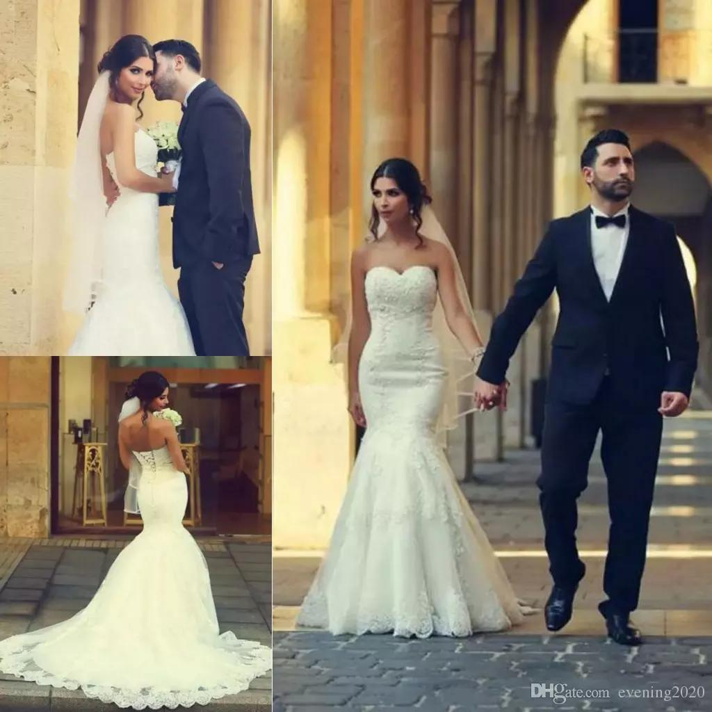2018 Sweetheart Neckline Lace Sexy Mermaid Wedding Dresses With