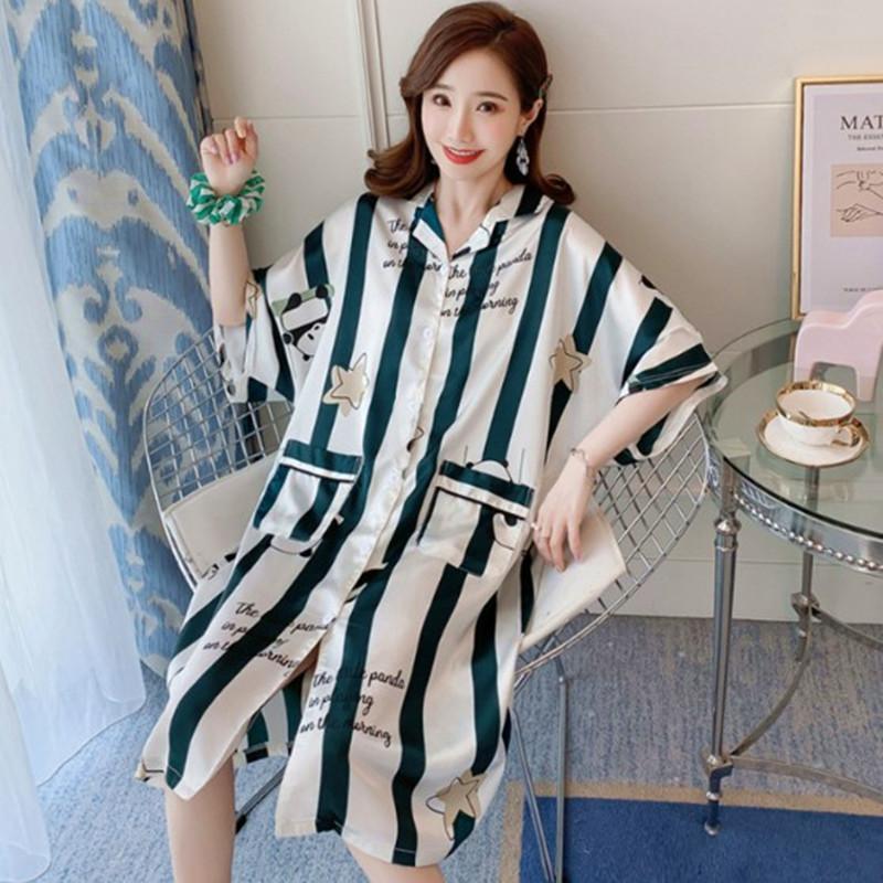 Gecelik kadın kısa kollu hırka pijama elbise şişman MM yaz buz ipek gecelik kadın büyük beden Pijamanı gevşek