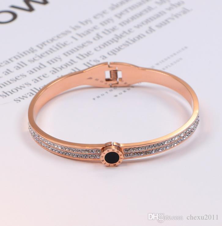 Full diamond bracelet round titanium steel black letter Bracelet 18K Gold Bracelet