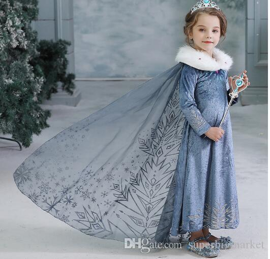 Bébés filles robe d'hiver enfants congelés Princesse Robes enfants Costume Party Halloween Cosplay Vêtements