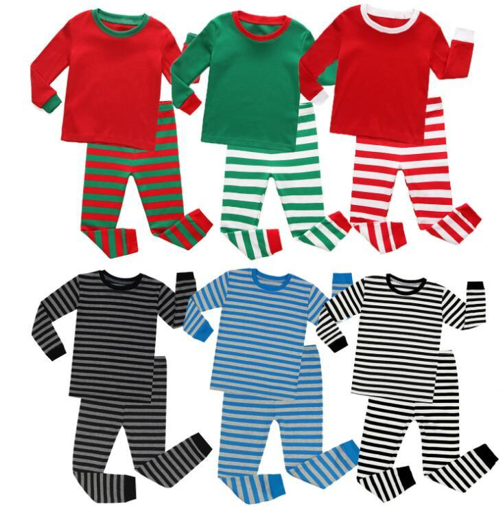 Kinder Designer Kleidung Jungen Mädchen Weihnachten Baby Pyjamas Kinder Kleidung Winter Herbst Zwei Teil Kleidung Sets Streifen Hosen Kinder Nachtwäsche