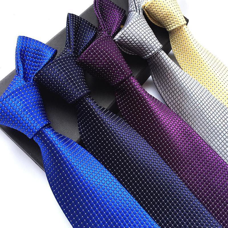 Solide Herren Krawatten Krawatten 8cm Silk Gravatas für Männer Hochzeit Anzug-Kleid-Blau Rot Lila Silber Beige Krawatten für Mann