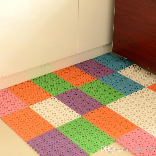 hollow plastic bath mats candy color non-slip bathroom massage carpets shower mats toilet floor mats 30x20cm