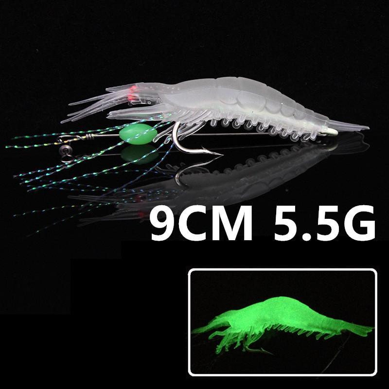 1pcs 9 centimetri 5.5g luminoso gamberetti amo da pesca Ganci ami morbide adesca i richiami di pesca Tackle g-020