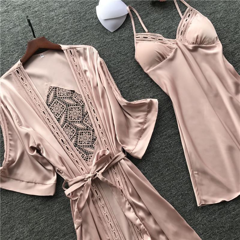 Frauen Robe-Kleid-Sets Sexy Spitze-Schlaf-Lounge Pijama Langarm Damen Nachtwäsche Bademantel Nachtkleid mit Brust-Pads