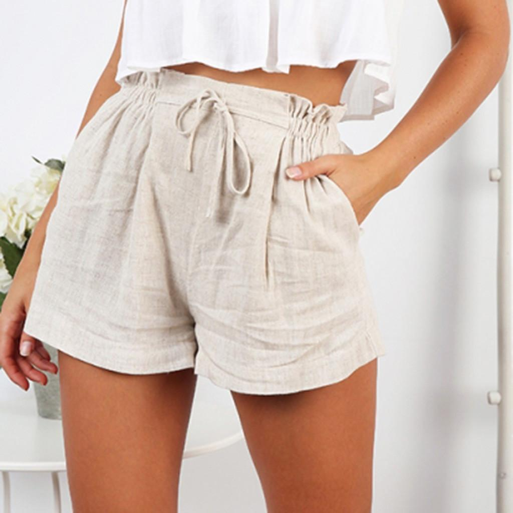 Plus Womens Short Pants Loose Shorts Bow Beach High Waist Short Trousers  Pants