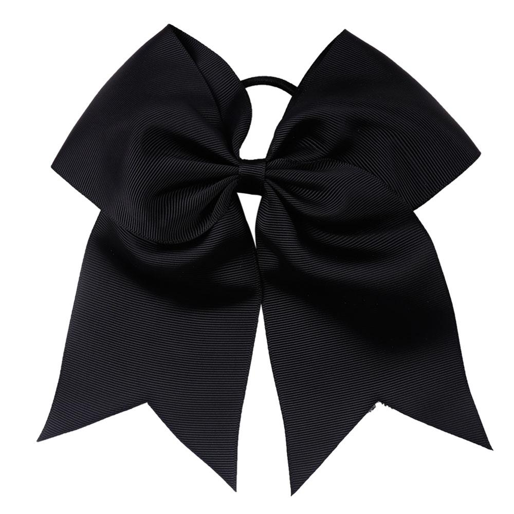 7'' Large Girls Solid Cheer Bow With Elastic Band Cheerleader Hair Bow Soft Grosgrain Hair Bands For Kids Hair Accessories