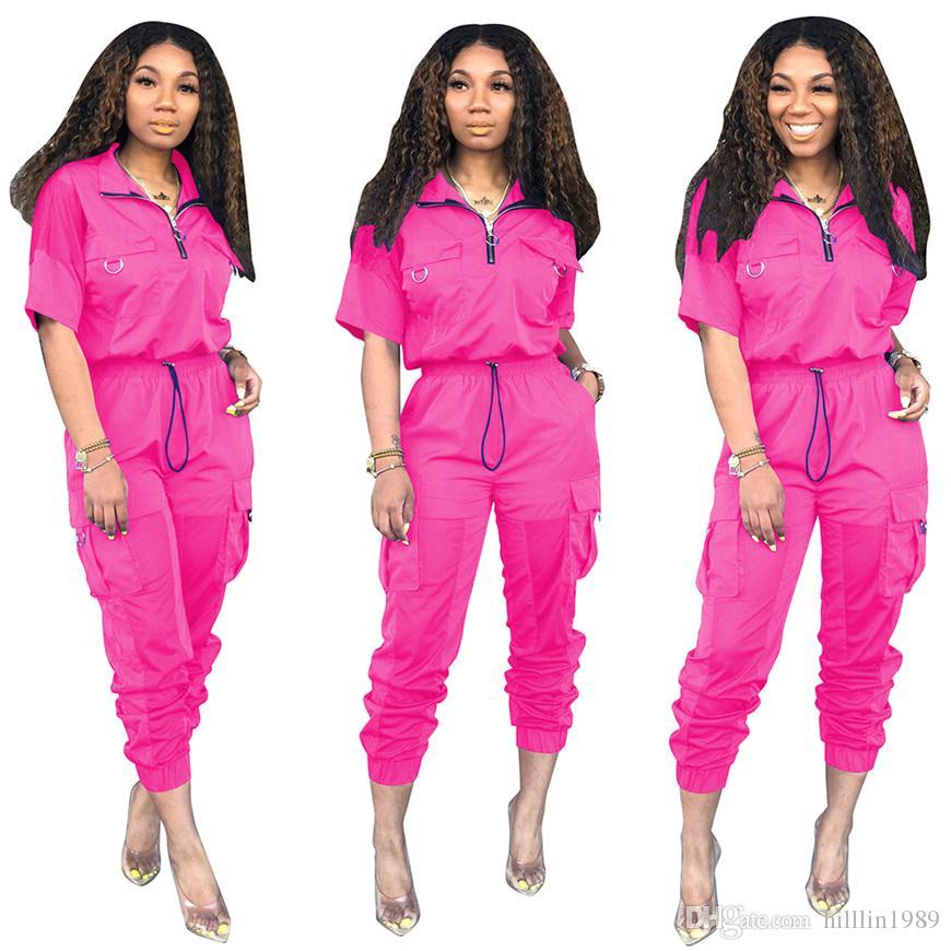 Summer Fashion Streetwear 30% Dois Pants Pedaço lapela pescoço Patchwork Lady outono malha Fatos de manga curta Mulheres