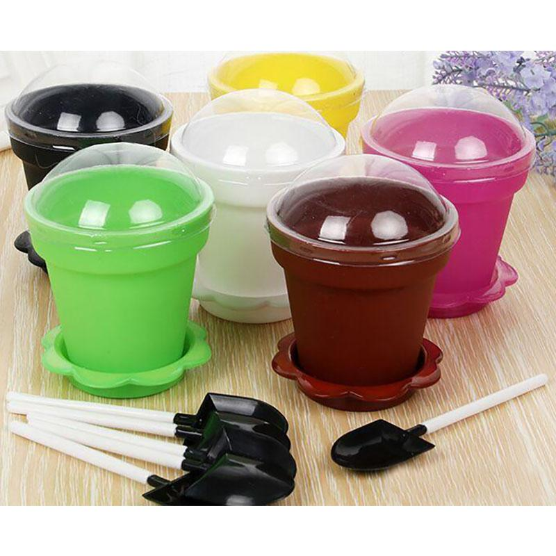 Plant Flower Pot Cake Cups And Spoon Set Ice Cream ecoration For Wedding Kids Birthday Party Supplies Baking Pastry Tools HH7-2071