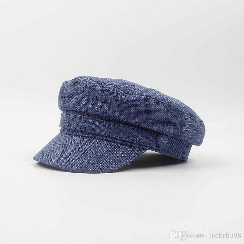 unisex summer flat cap newspaper boy cap Linen flat hat with visor blue summer news boy cap for men women and kids beige and light grey