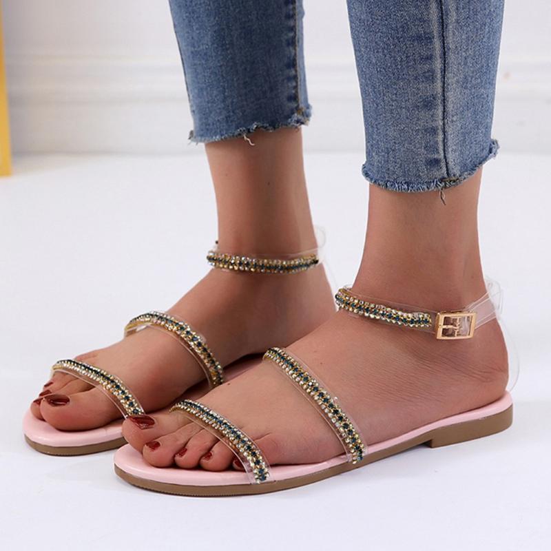 Femmes Sandales d'été 2020 Chaussures Femme Femme Sandales peep toes Boucle Bracelet doux aplatis Femmes 2020 Talons courtes pour Party