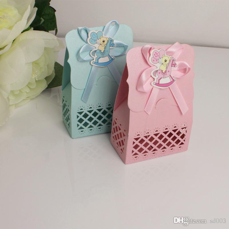 Rosa azul infantil caja de dulces de la boda que ahueca hacia fuera talla láser de Baby Shower Favores fiesta de cumpleaños caja de chocolate decoración de la tarjeta 7 8ktE1