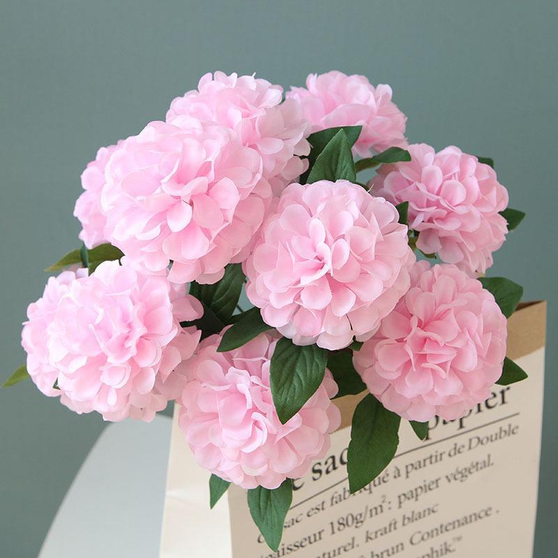 silk flower wedding decoration artificial flowers 10 heads hydrangea fake flower bouquet for home weeding decoration