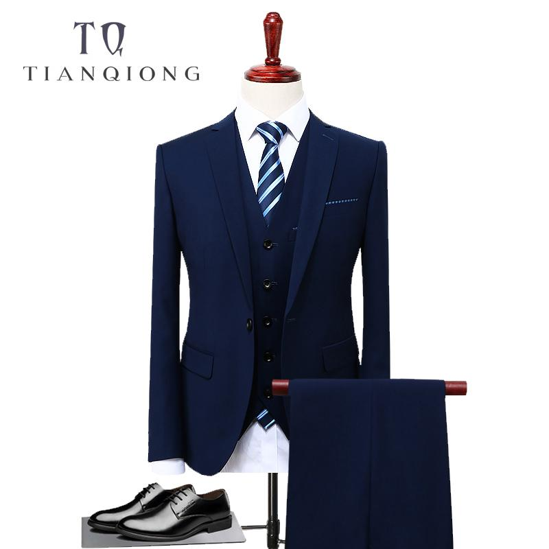 TIAN QIONG Bleu 3 Piece Suit Hommes coréenne Mode Costumes Hommes d'affaires DESIGNERS 2018 Costumes de mariage Slim Fit pour les hommes Taille S-4XL T200323