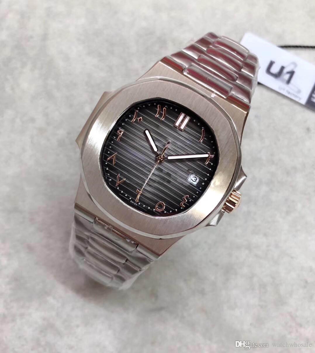 Islámico reloj automático digital 40 mm de alta calidad 5711 reloj de acero inoxidable 316L correa de cuero de cristal de zafiro venta caliente