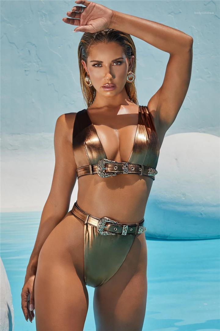 مصمم النساء الساخن الذهب ملابس مثير الجوف خارج ملابس موضة الزنانير شاطئ السباحة ملابس للسيدات سباحة