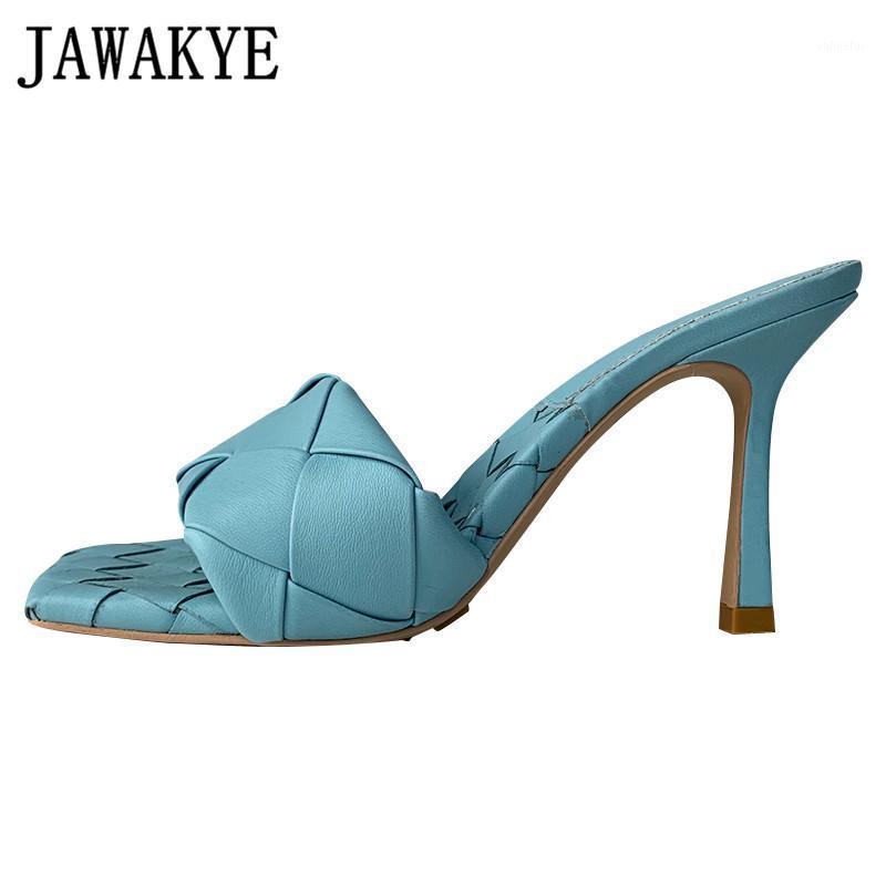 Fashion Square INS Abrir Toe Mulas Chinelos Verão Stiletto Salto Alto Vestido Chinelos sapatas do partido mujer1 Mulher zapatos