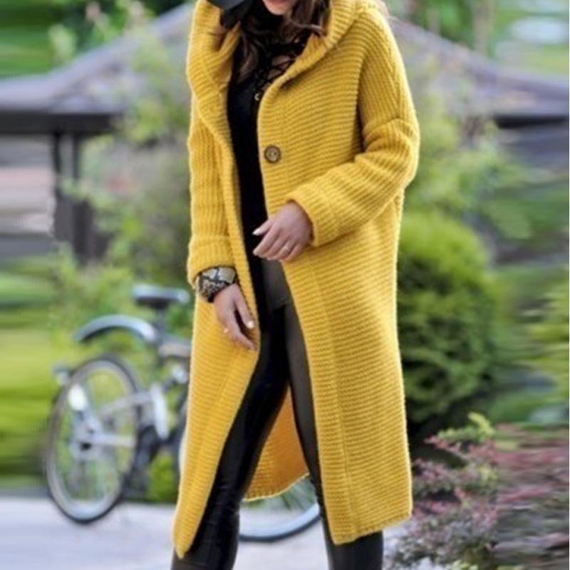Largo de las mujeres chaqueta de punto de tamaños grandes de extracción sólido Femme capucha de punto plana Escudo chaleco femme manche longue Kardigan Mujer CJ191220