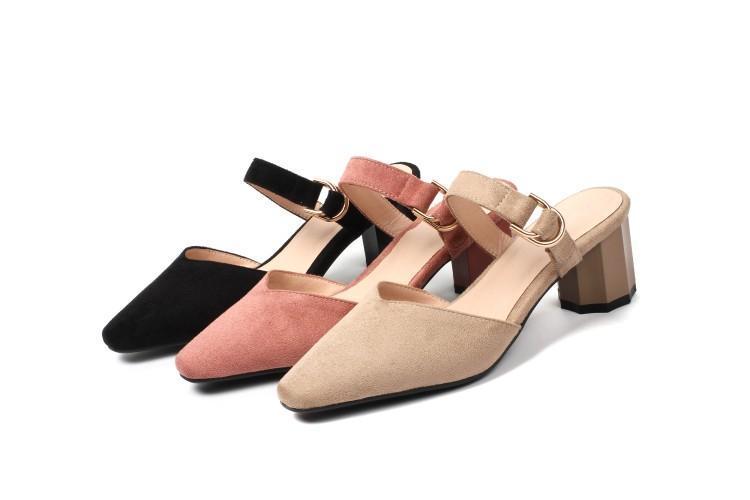 Sıcak Satış-2019 yeni Leisur yeni sürüsü Yaz Kadın ayakkabıları pembe Terlik kapalı ayak Orta Topuk büyük beden 34-44 / h08-6