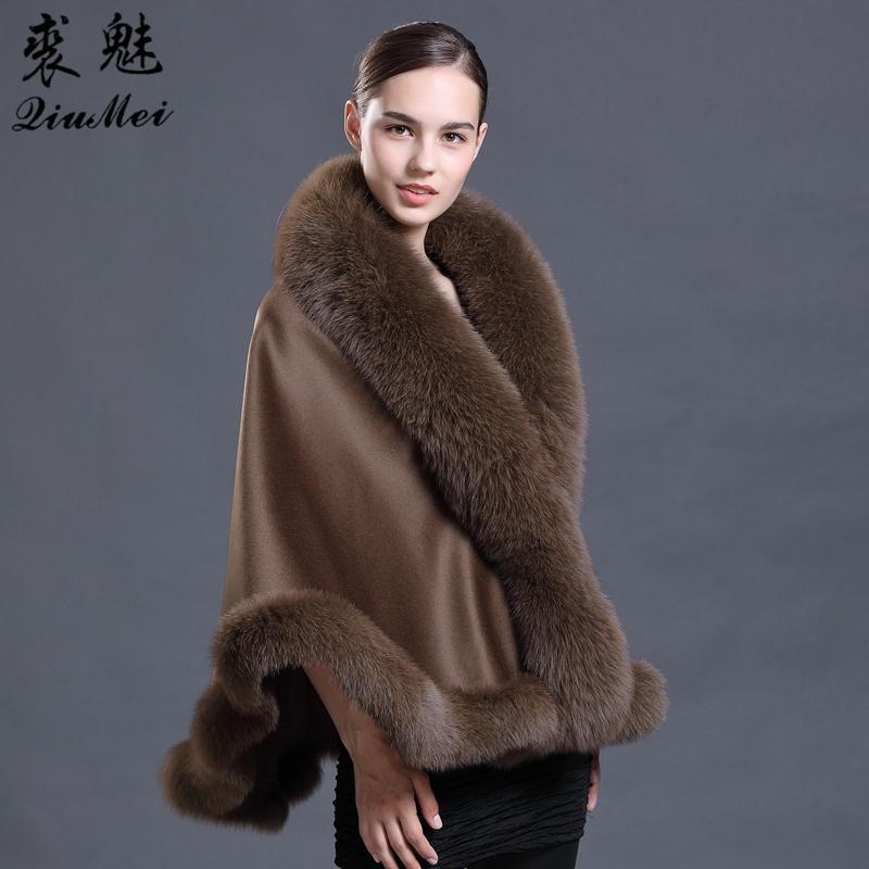Brown Laine Pashmina Cachemire Manteau Châle avec laine écharpe de fourrure col de fourrure Poncho Wrap Outwear réel Manteau