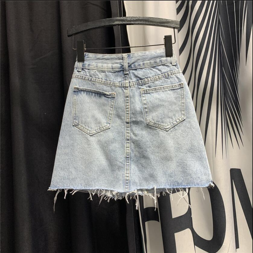 Модный тренд джинсовая юбка женский лето к 2020 году новые симпатичные мультфильм вышивка короткий джинсы юбки девушки студентки-линии юбки