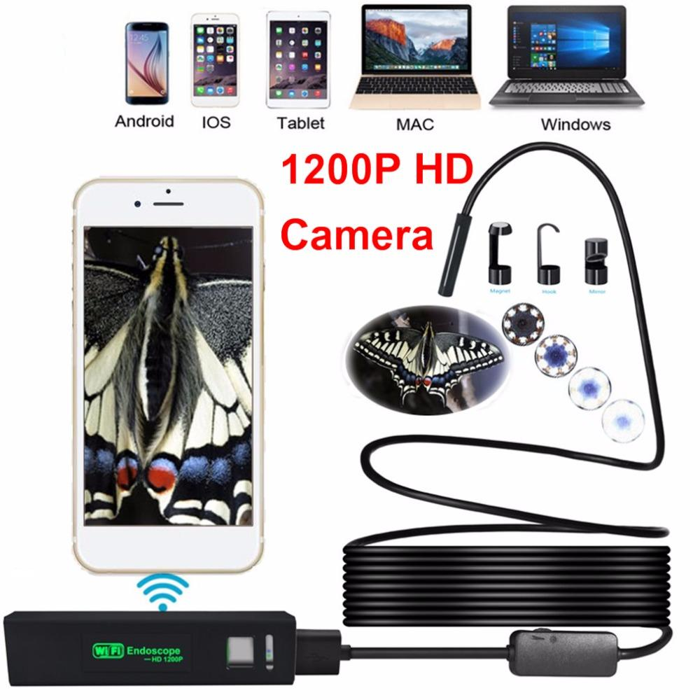 8MM 8leds واي فاي HD 1200P كاميرا منظار USB IP68 للماء Borescope شبه أنبوب جامدة كاميرا فيديو لاسلكية التفتيش لالروبوت / دائرة الرقابة الداخلية