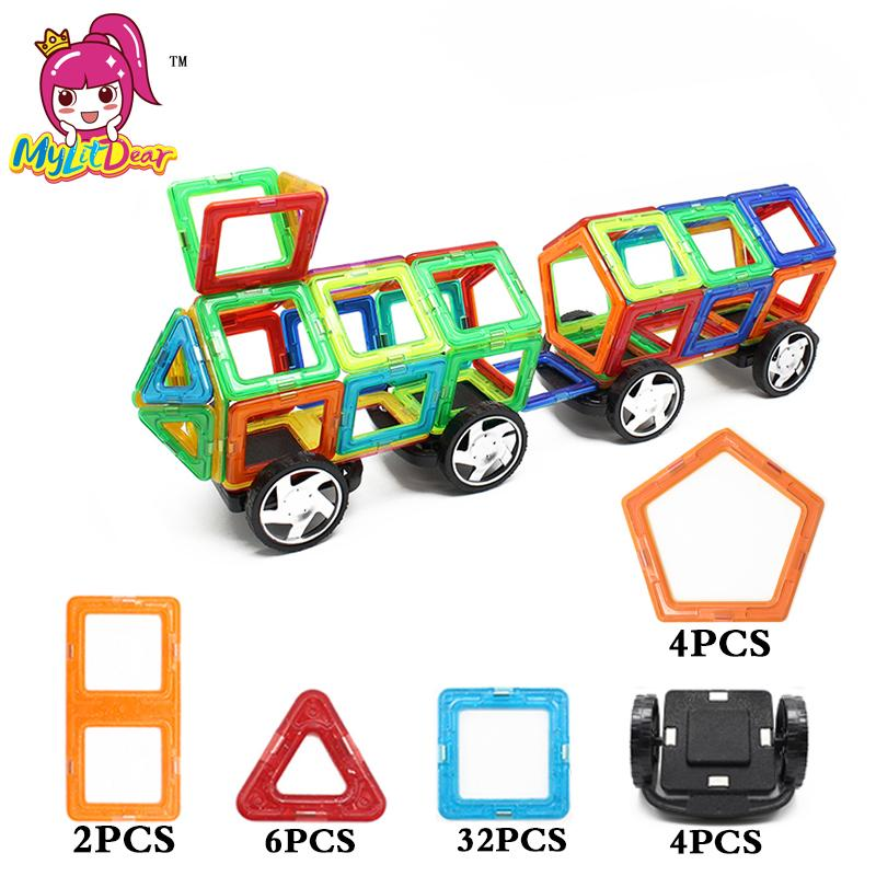 MylitDear 48Pcs Big Size Magic Building Block Magnetic Toy Truck Educational Game Construction Stacking Sets Brick Toys For Kids