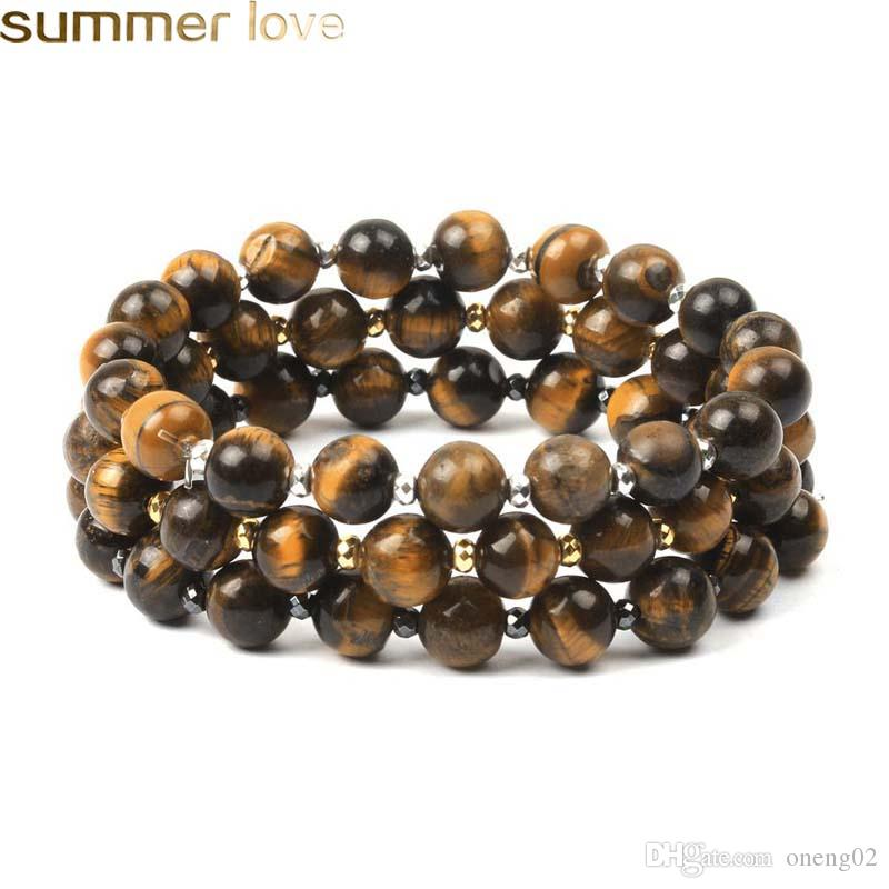 New Fashion Women's Strand Bead Bracelets Tiger Eye Stone And Alloy Bead Charm Bracelet Gift Jewelry For Mother's Day
