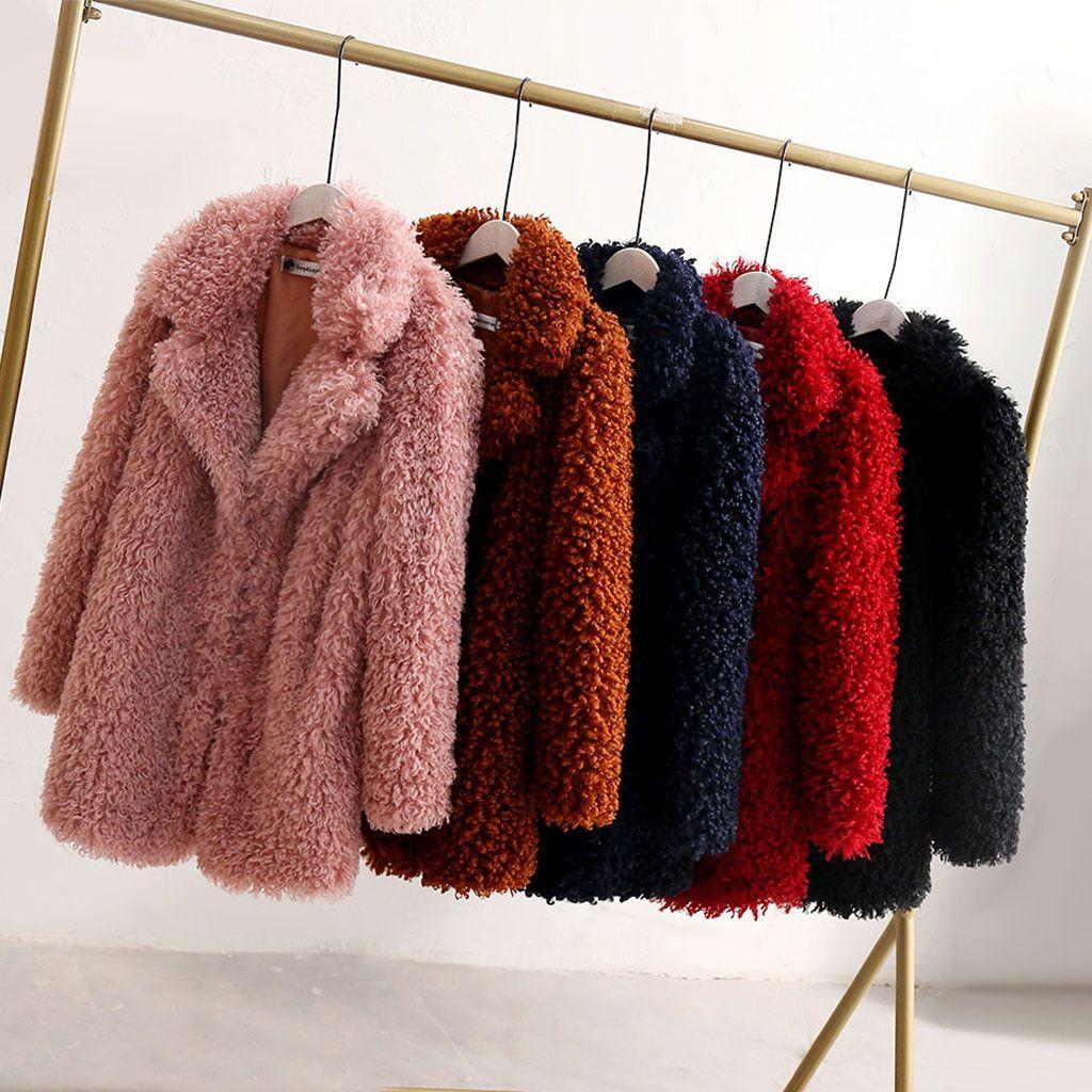 Las mujeres forman círculo de lana suelta de manga larga da vuelta-abajo caliente felpa Escudo Escudo de gran tamaño de peluche de felpa Warm Abrigo T191118