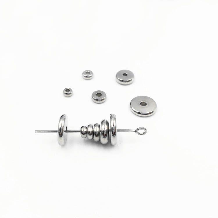 Granos del espaciador de la moneda plana de acero inoxidable resultados de la joyería diy artesanía tono de plata mate 4mm 5mm 6mm 8mm 10mm
