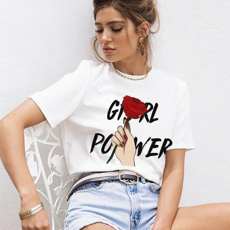 Le donne del progettista magliette progettista delle donne delle parti superiori Girl Power casuali o collo magliette delle più il formato Corea Graffiti T Shirt Femminile Harajuku