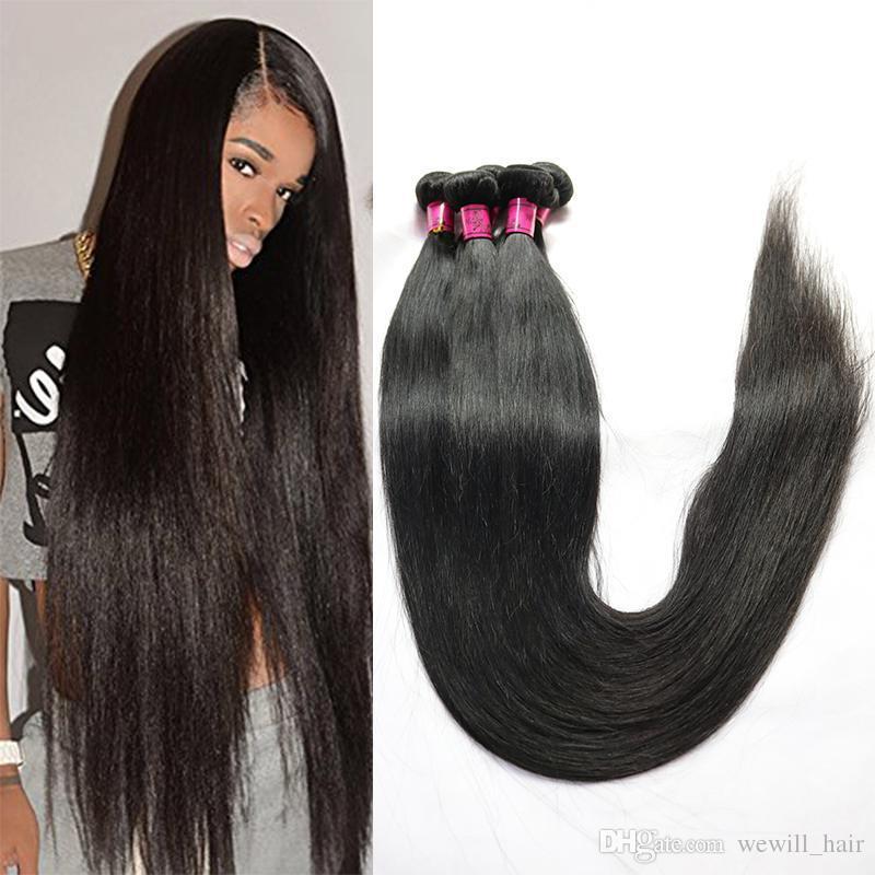 Virgin del brasiliano Capelli lisci capelli umani Weave Bundles 28 30 32 34 36 38 40 pollici Longest peruviano malese di Remy dell'indiano di estensioni dei capelli