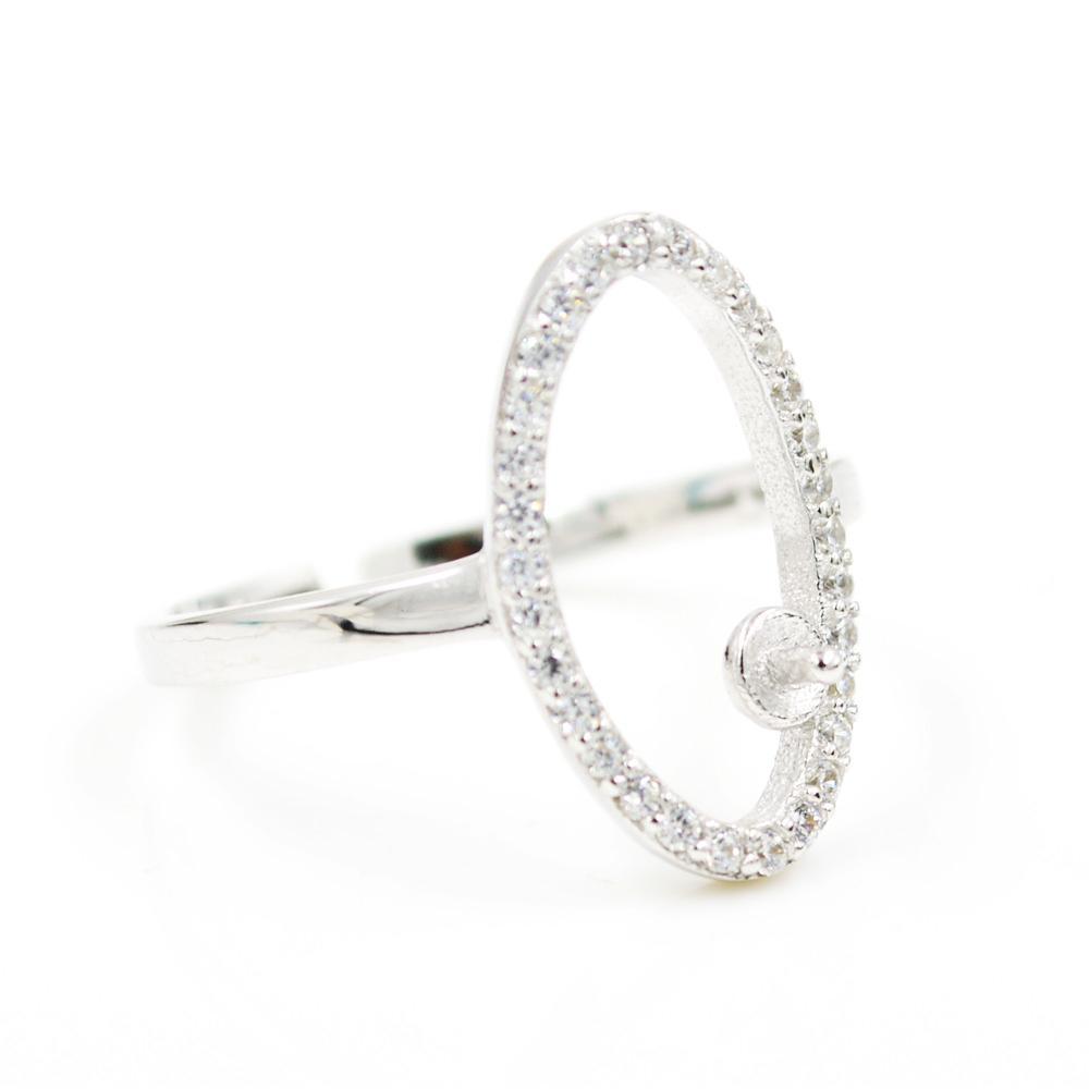 Оптовая продажа S925 стерлингового серебра кольцо крепления Циркон овальное кольцо крепления для женщин жемчужные украшения diy бесплатная доставка регулируемый открытие кольцо