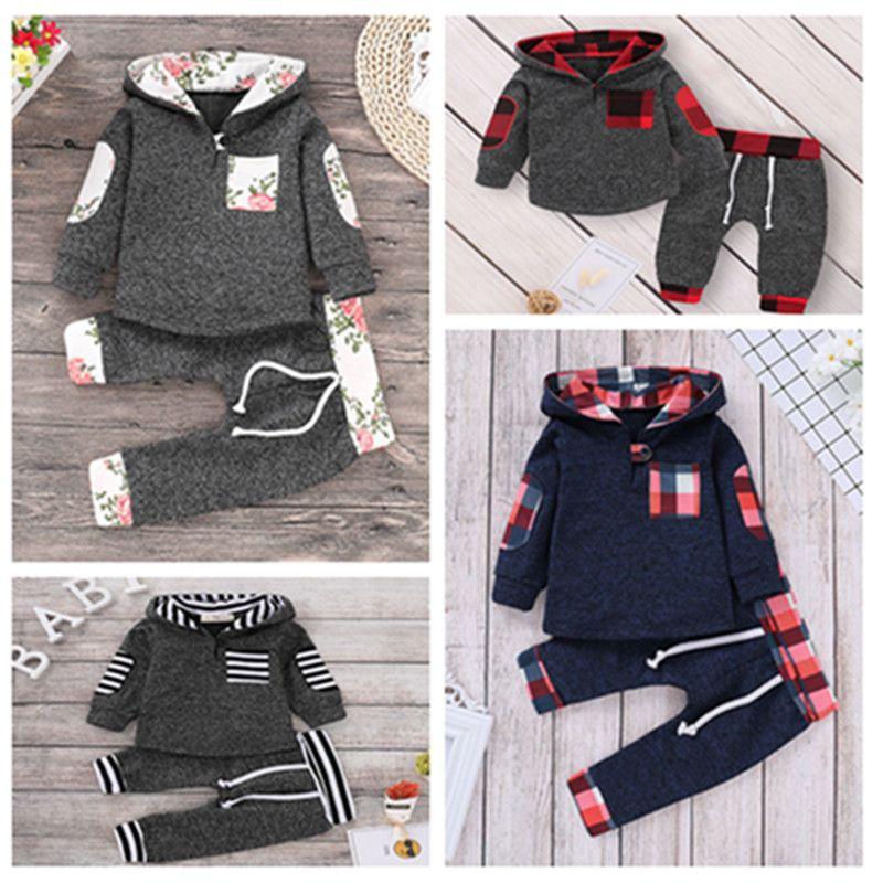 Meninos Meninas Conjuntos de Roupas de Natal Treino Preto Grade Vermelha Moletom Com Capuz + Calças Ternos Da Criança Crianças Moletom Do Bebê Roupas Outfits