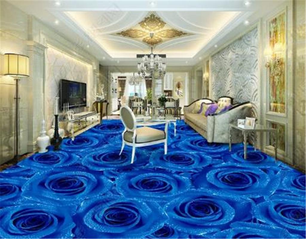 Personalizado Qualquer Tamanho 3d Papel De Parede Azul Rosa Sala de estar Quarto 3D Piso Interior Mural Papel De Parede