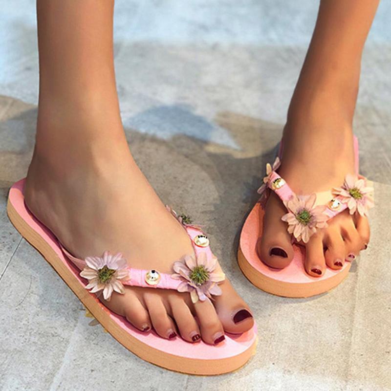 Womens Flats Flowoer sandálias para flip-flops Abrir Toe Confortável calçados casuais chinelos de praia Flip Flops Sapatos chanclas mujer