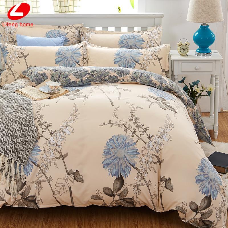ensemble de literie classique 5 taille lit fleur bleue gris linge 4pcs / set housse de couette drap de lit Pastoral housse de couette côté AB 2017