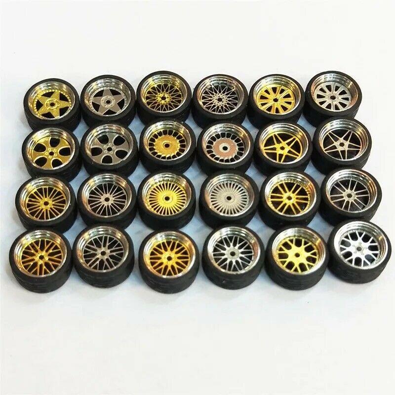 4 pacotes Escala 1:64 Pneu Roda Modificada Para Veículos Tomica Hotwheels Upgrade
