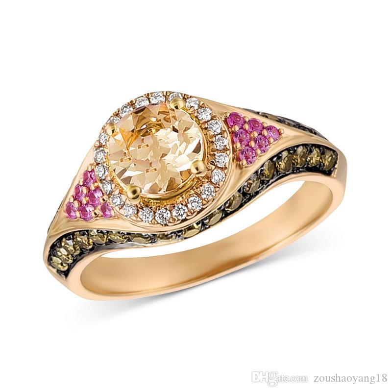 14K Gold Plated Ring Geometric Zircon Crystal Finger Ring for Women Gift Jewelry