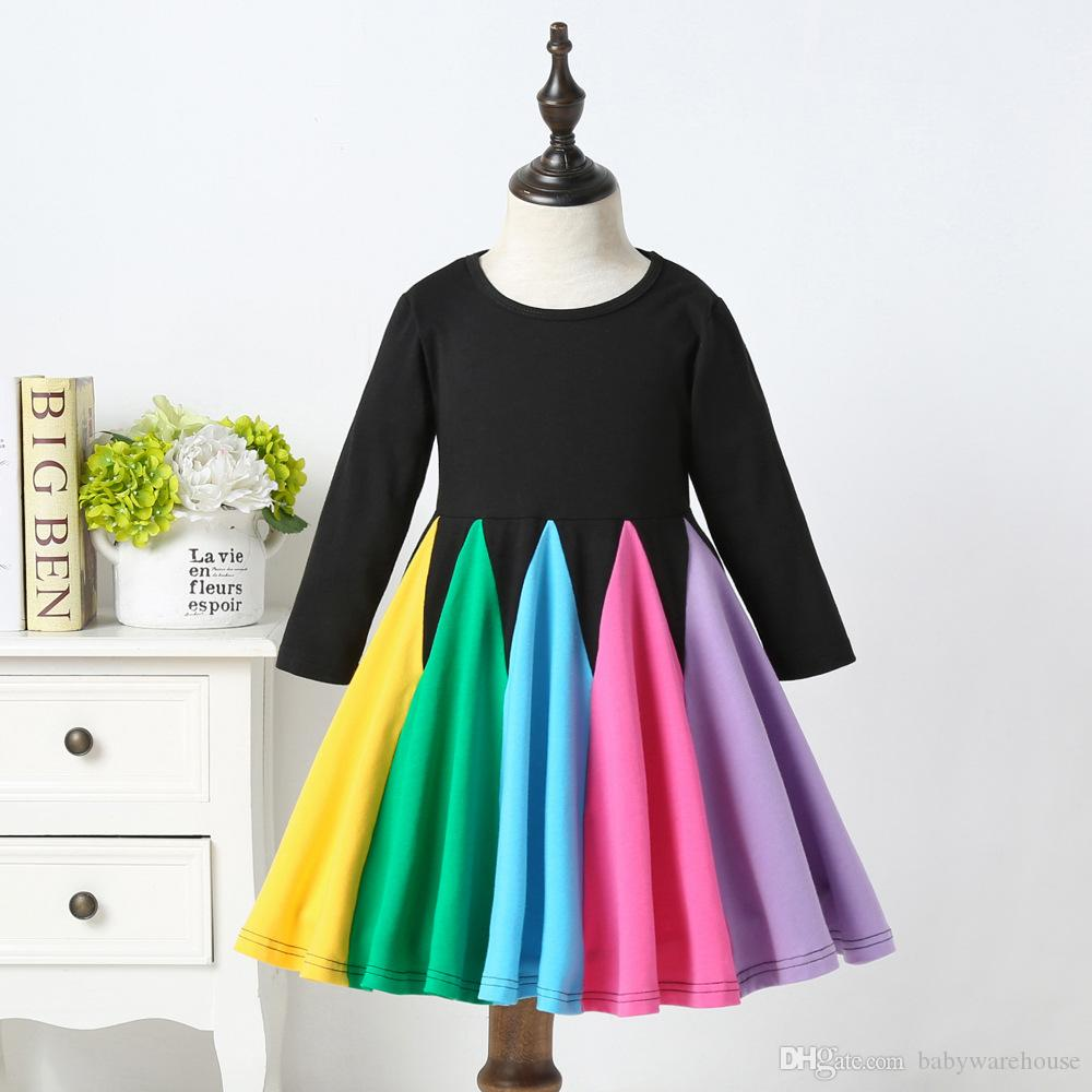 2020 Newest Baby Clothes Toddler Baby Girls Rainbow Dress Kids Cotton Long Sleeve Dresses Autumn Striped Casual Clothes 1-5T Kids Clothing