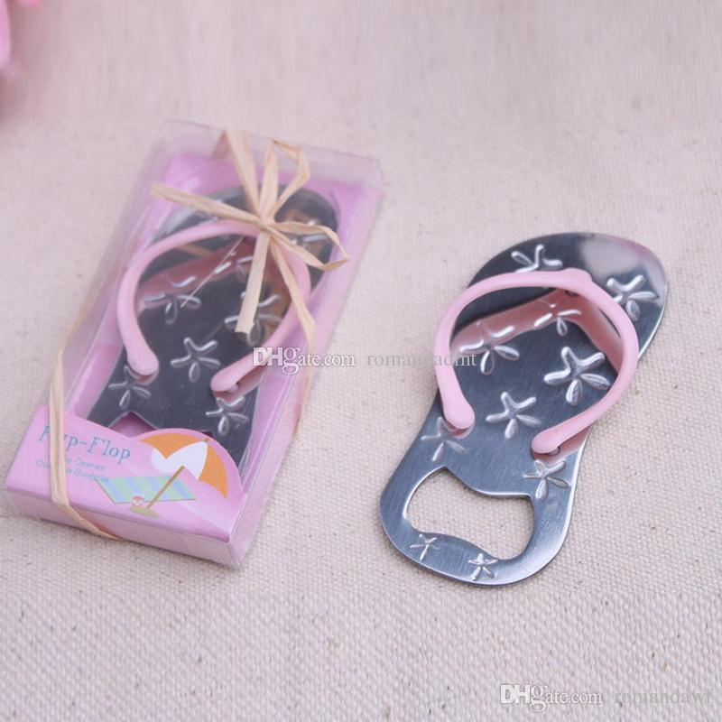 Wedding favors gifts Starfish Slipper bottle opener Metal Pink flip flops Beer bottle openers wedding Party decoration+DHL Free Shipping