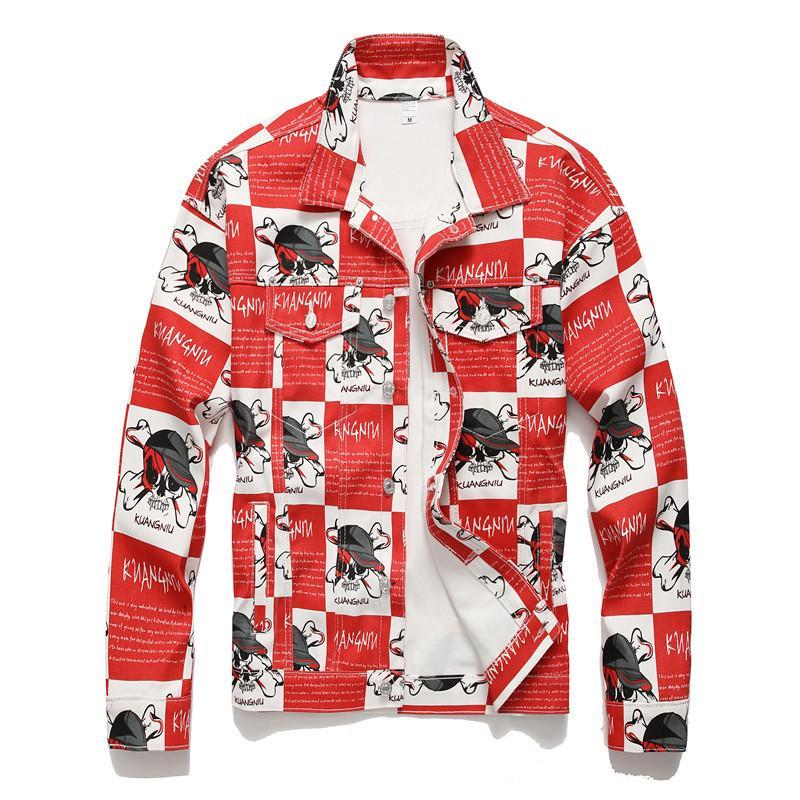 ABOORUN punk cráneos de denim impresa chaqueta de los hombres de Hip Hop Streetwear Moda Jeans delgado Chaqueta para Hombre R3257