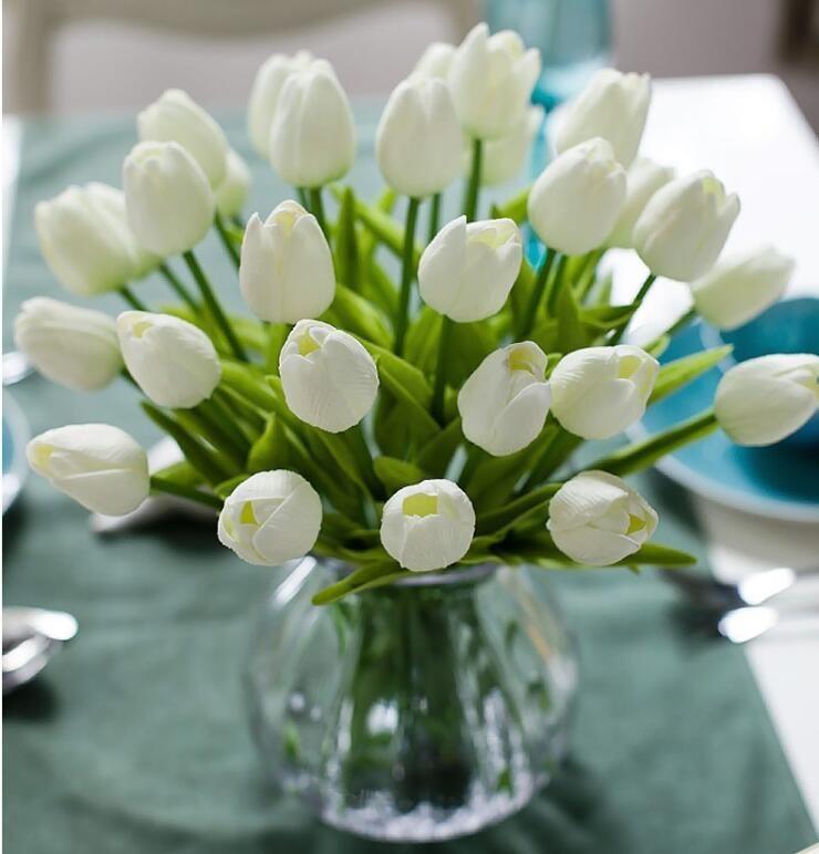 PU Artificial Flowers Tulipani di seta Real Touch Flowers Mini Tulip Matrimonio Decorativo Bouquet Decorazioni da sposa Decorazioni Home Decor LXL732-1