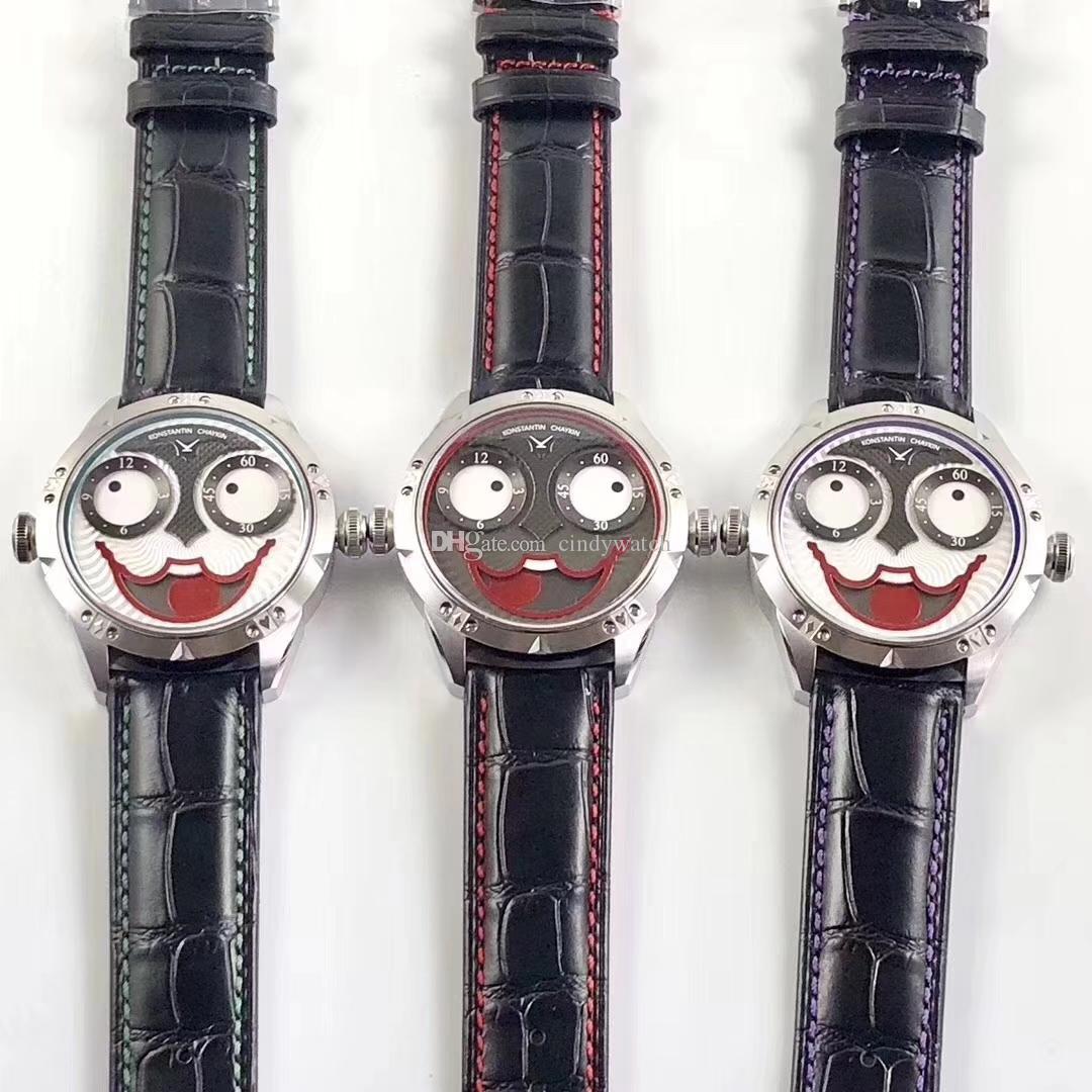 42MM unico design fresco in acciaio inox Joker degli uomini della manopola Red lunetta interna NH35A orologio automatico vetro zaffiro orologio impermeabile