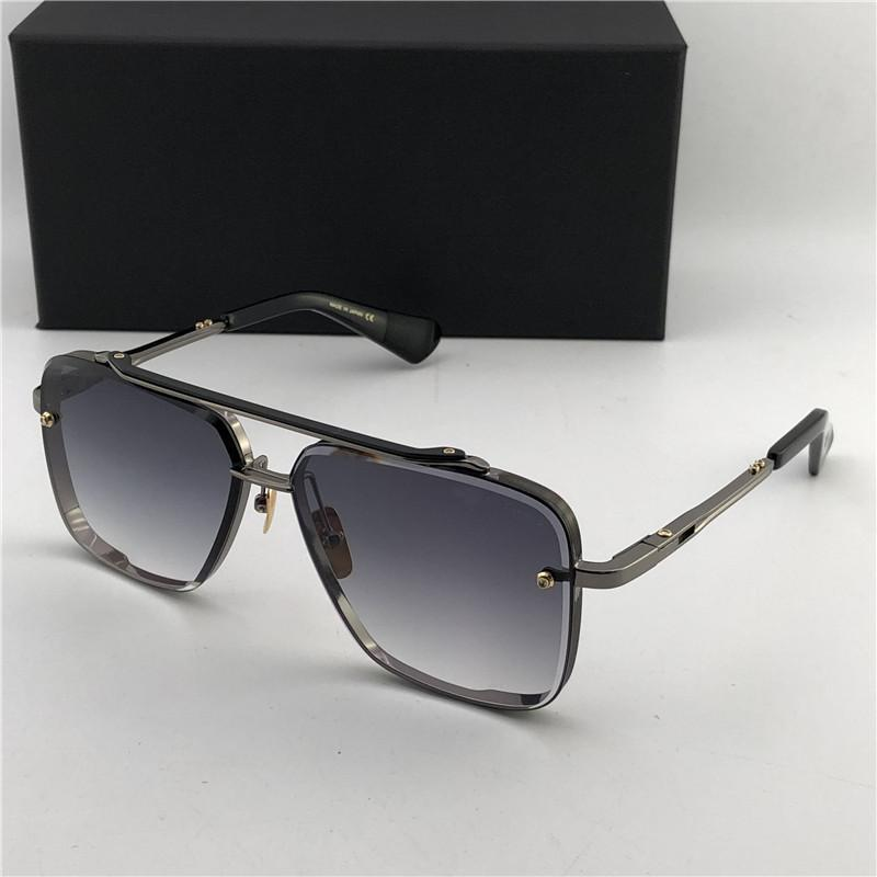 luxo -Matte Preto 121 Praça Óculos de Sol Gradiente Brown Lenses Sun Glasses Homens Designer Sunglasses Novo