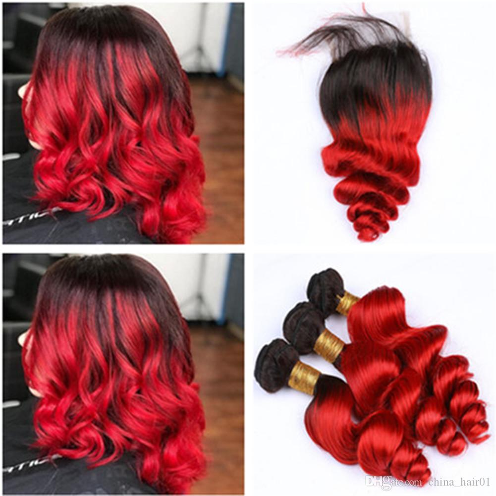 Black to Red Ombre Loose Wave Malaysian Virgin Hair Bundles with Lace Closure 4x4 #1B/Red Ombre Wavy Human Hair Weaves with Closure