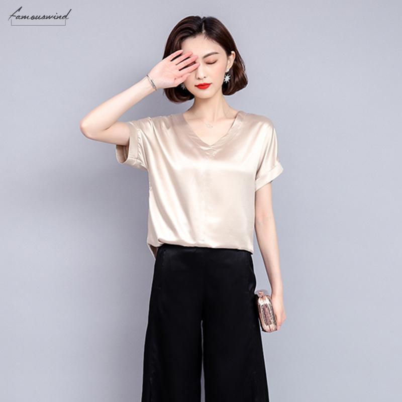 Blusa in seta 2020 Moda Donna Casuale Camicia a maniche corte in raso femminile Harajuku camicette in chiffon Abbigliamento taglie forti per le donne