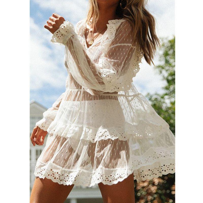 Kadınlar Plajı Giyim Bikini Cover Up Elbise Dantel Şeffaf Mini Elbise Önlük Mayo Boho Bayanlar Polka Dot Yaz Elbise T200517 Tops