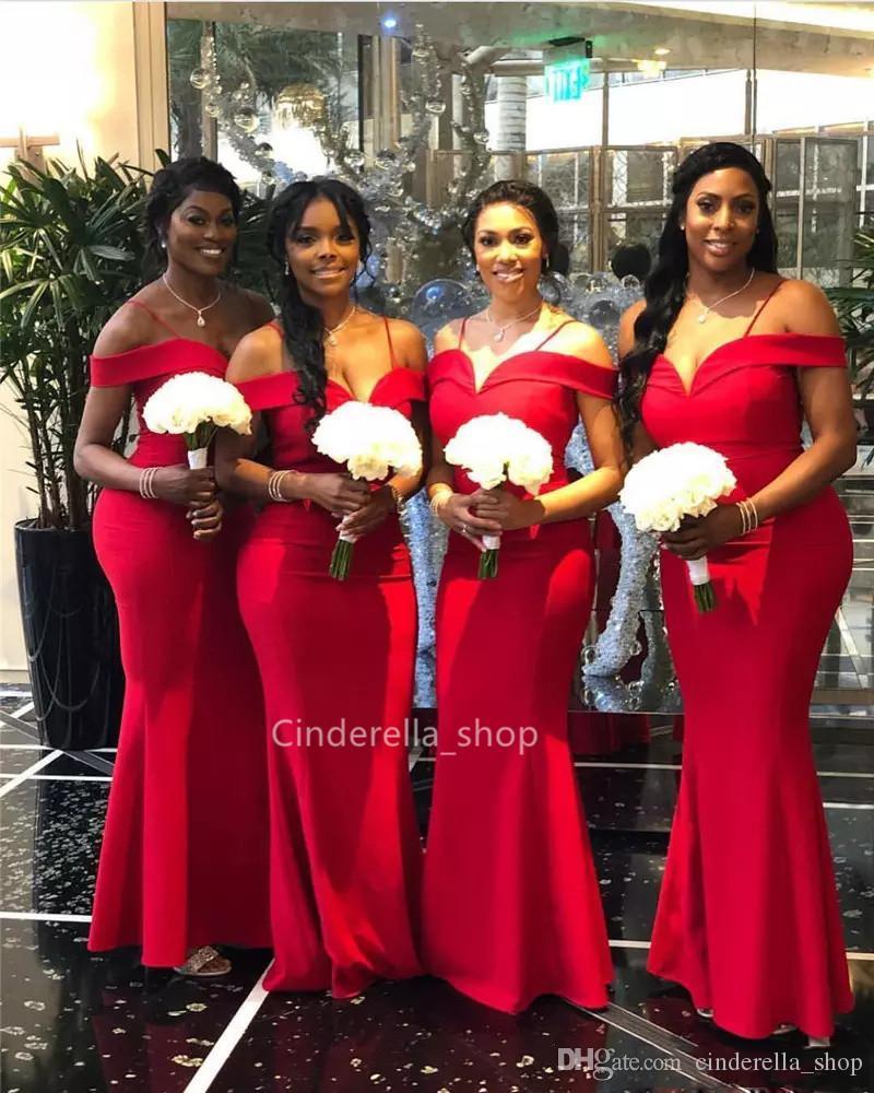 Black Girls Mermaid Bridesmaid Dresses 2019 Spaghetti Off The Shoulder Floor Length Red Wedding Guest Dresses Bodycorn Maid Of Honor Dresses