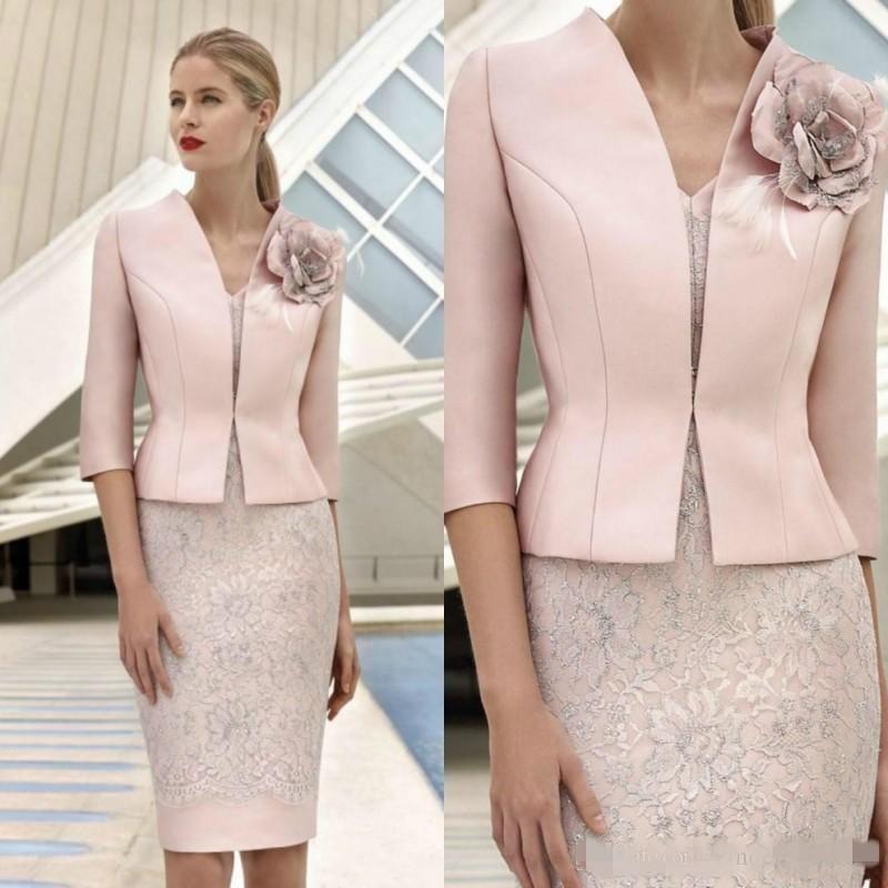 2020 rose mère de la mariée robes avec veste 3/4 manches dentelle dentelle appliquée fleur mariage robe invité genou longueur mère tenue mère